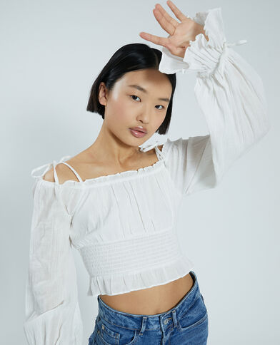 Korte blouse gebroken wit - Pimkie