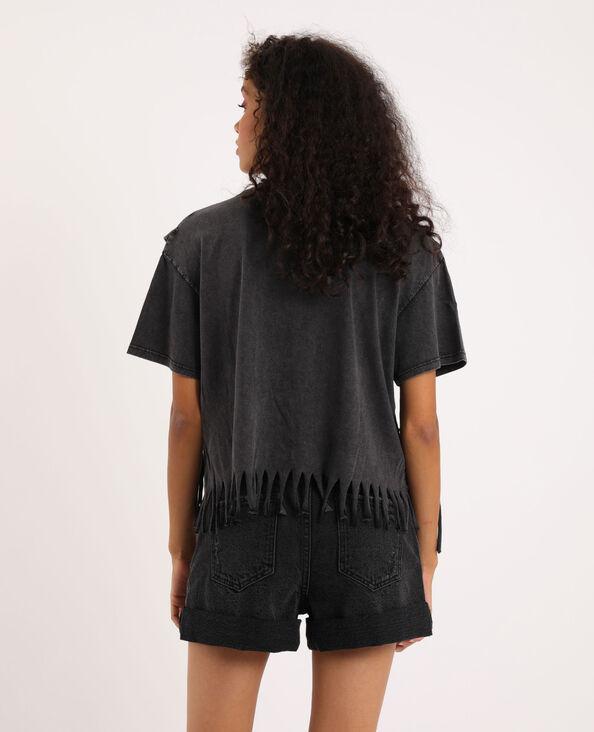 T-shirt met franjes en parels antracietgrijs
