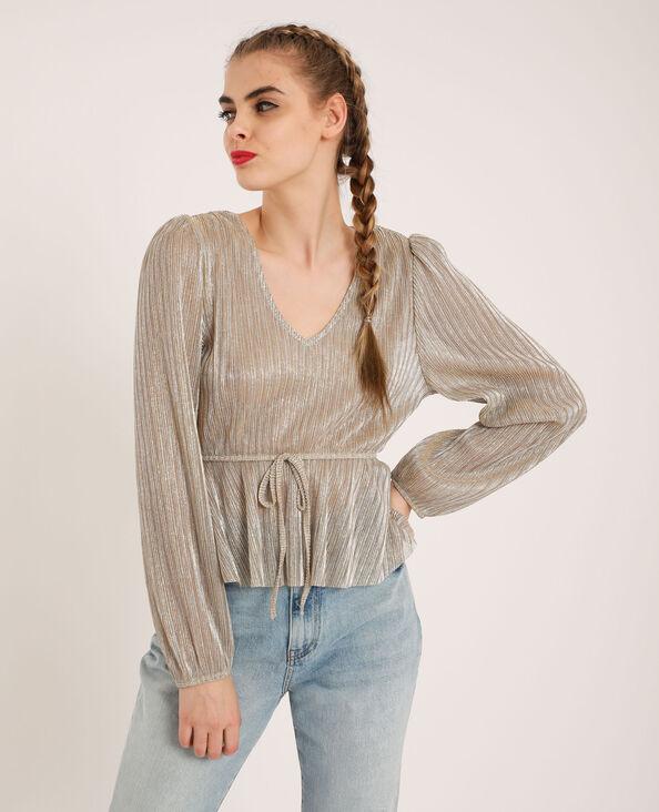 Korte glanzende blouse goudkleurig