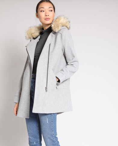 Wollen jas gemêleerd grijs