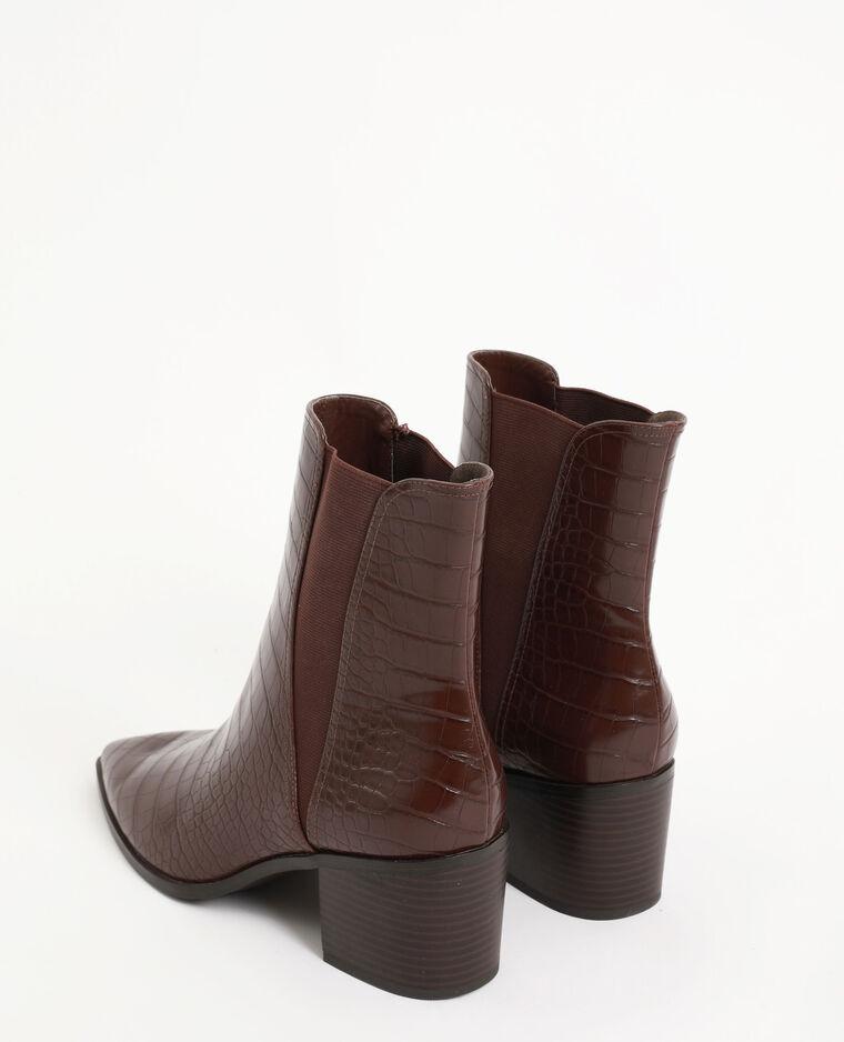 Boots croco marron