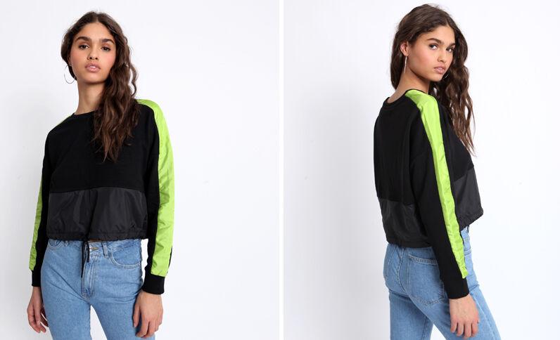 Tweekleurige sweater zwart