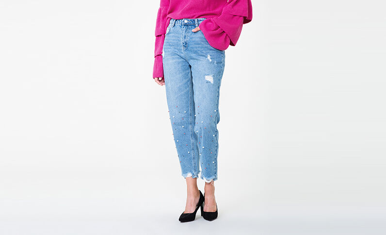 Mom jeans met parels denimblauw