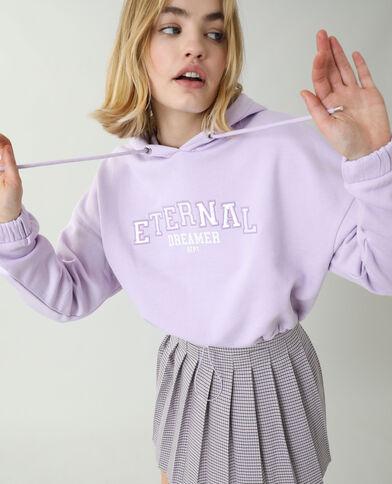 Korte moltonsweater met kap violet - Pimkie