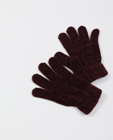 Handschoenen van chenilletricot granaatrood