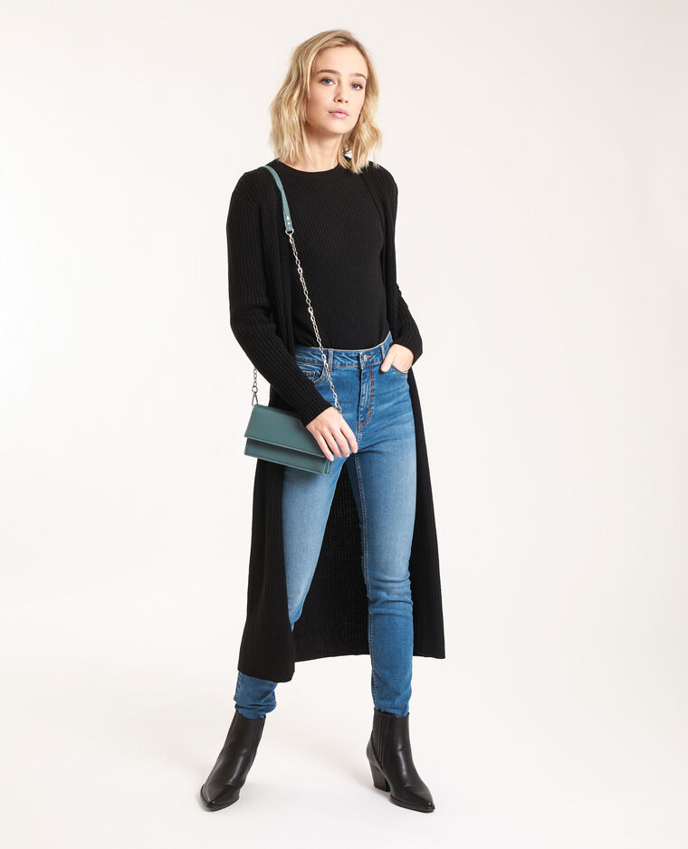 Dunne trui met ribbels zwart