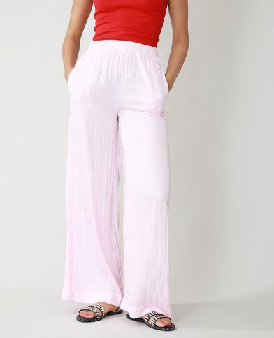 Wide leg broek met plooien roze - Pimkie