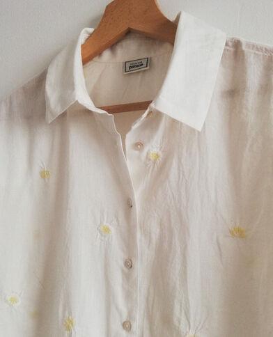 Geborduurd hemd wit