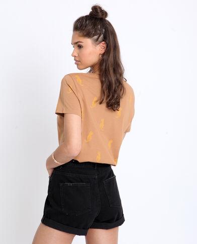 T-shirt à imprimé marron