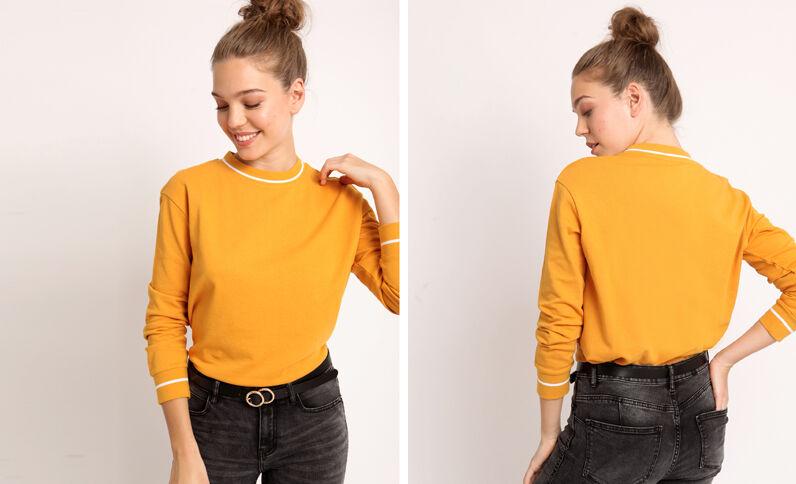 Effen sweater geel