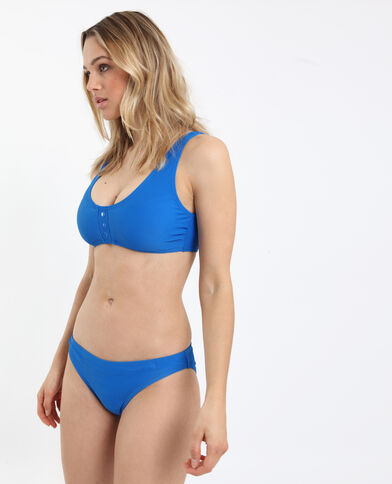 Bas de bikini gaufré bleu