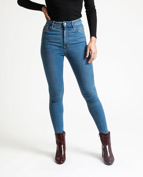Jean skinny taille haute bleu denim