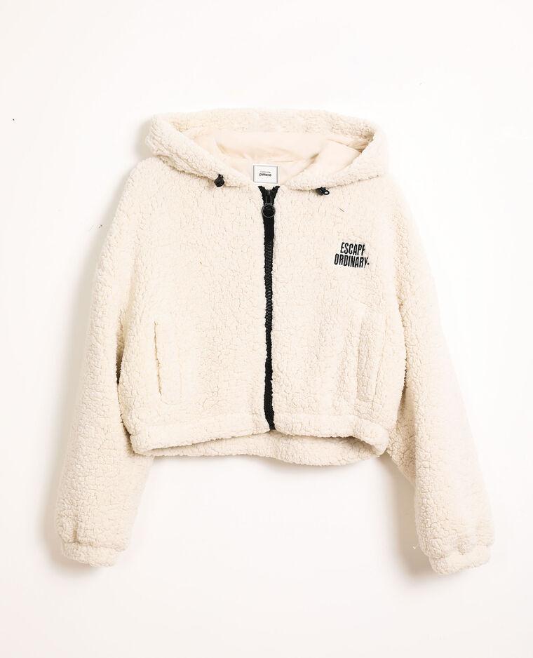 Veste courte en faux mouton blanc cassé