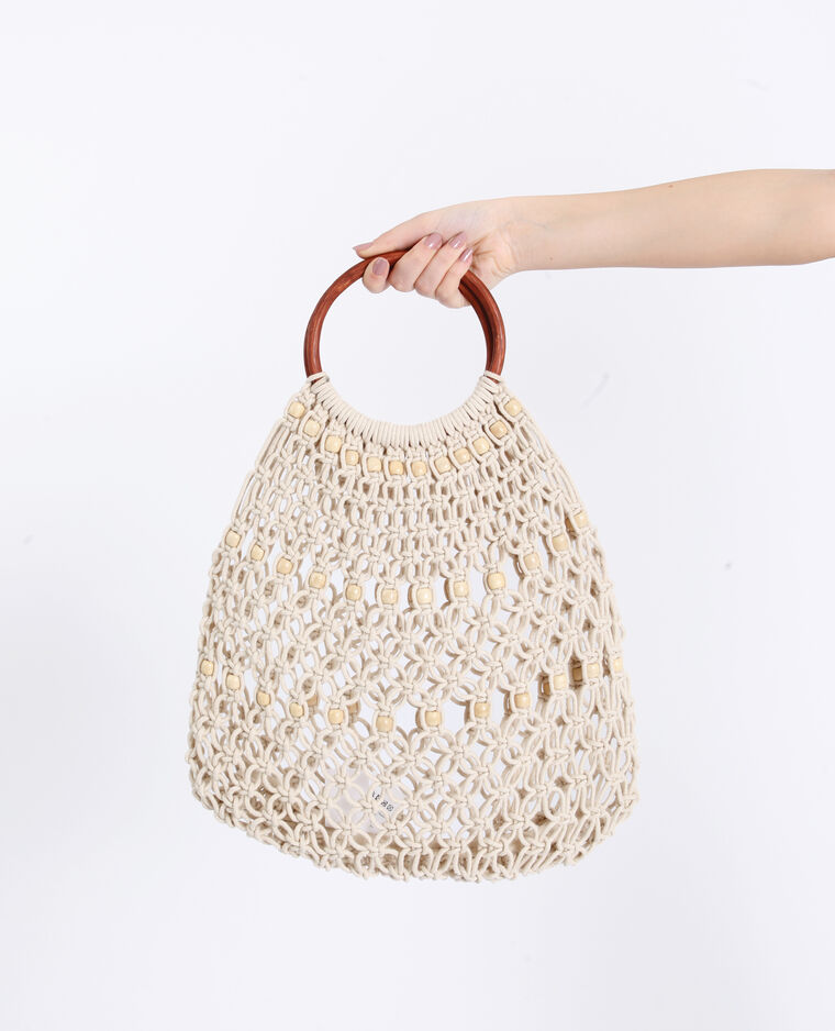 Sac filet à perles écru