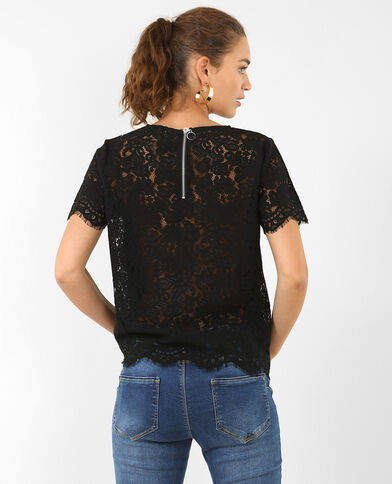 T-shirt in kant zwart