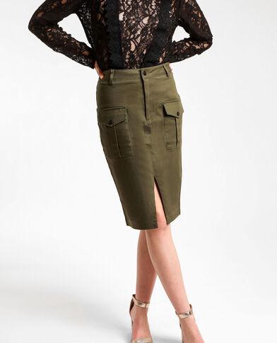 Halflange rok met zakken groen
