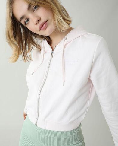 Korte moltonsweater met kap bleekroze - Pimkie