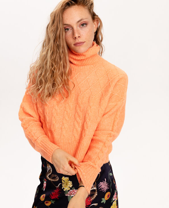 Kabeltrui met rolkraag oranje