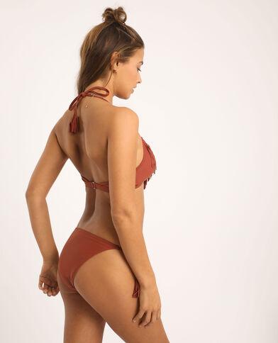 Bikinislip met franjes terracotta