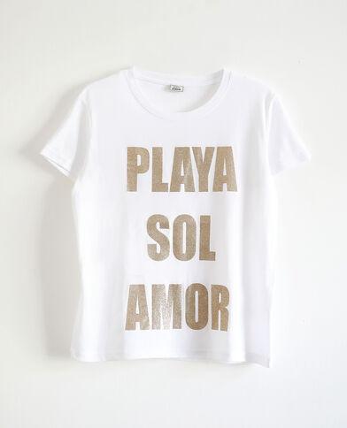 Bedrukt T-shirt ecru