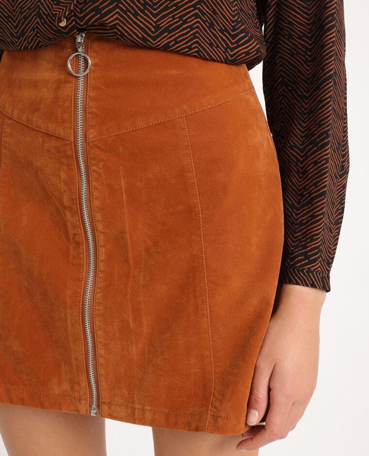 Jupe zippée marron