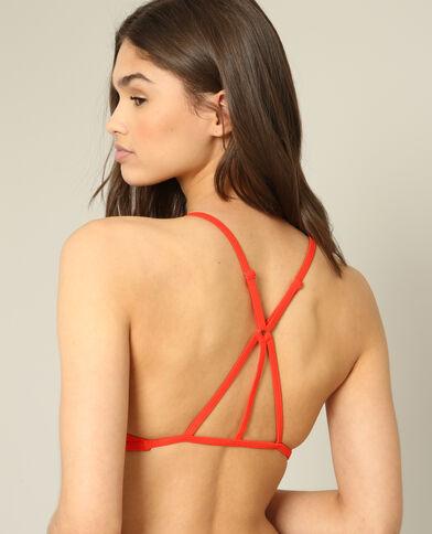 Haut de bikini halter crop rouge