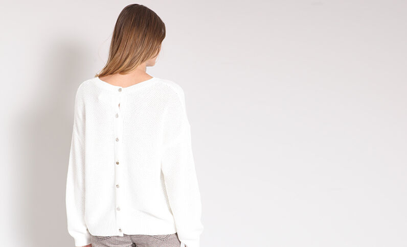 Opengewerkte trui wit