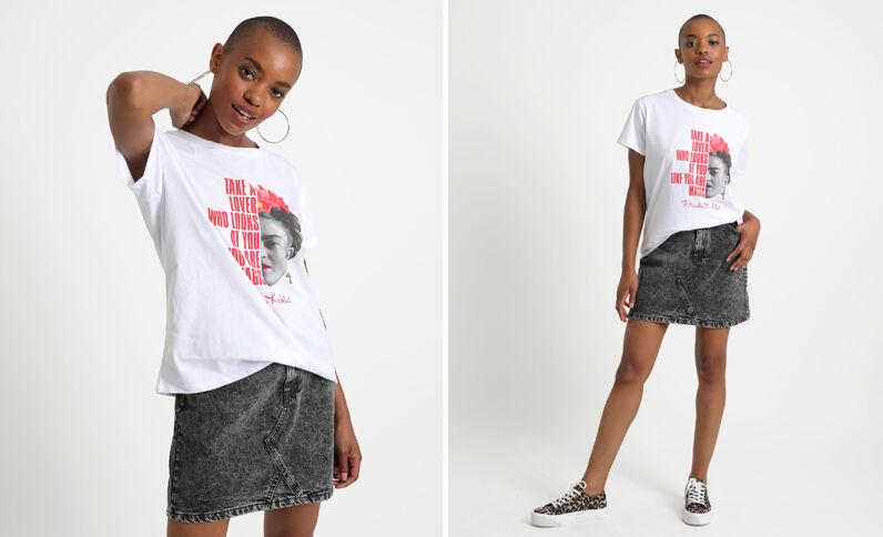 T-shirt met Frida Kahlo-print wit