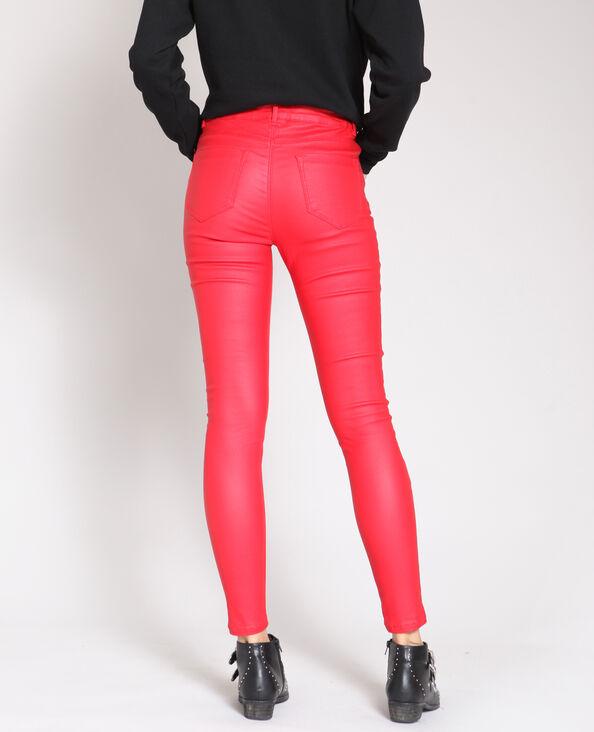 Gecoate skinny broek rood