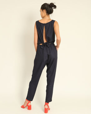 Combi-pantalon à dos ouvert bleu marine