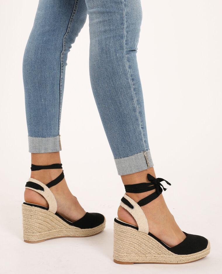 Sandalen met sleehak van stro zwart