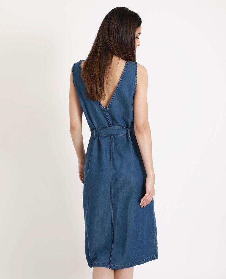 Robe longue à col V bleu