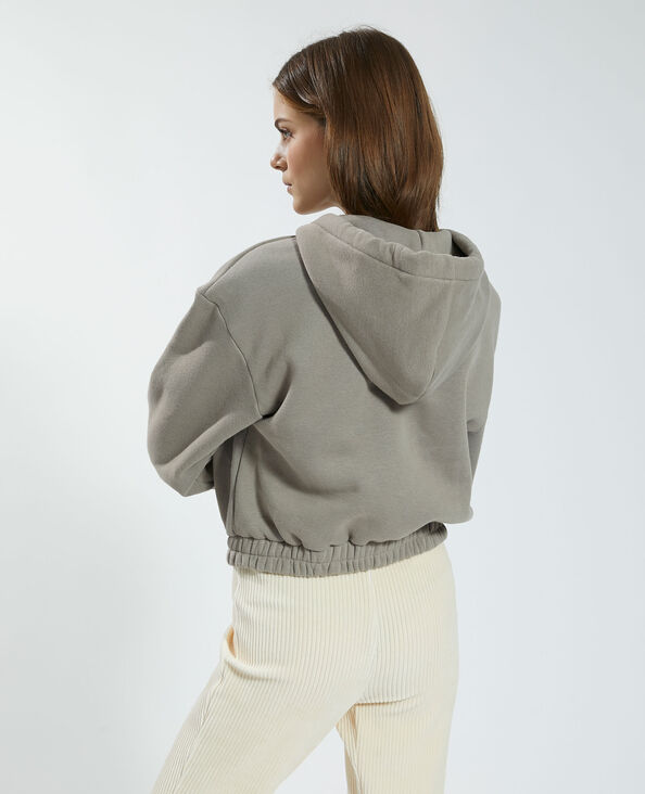 Sweater van molton met kap en rits taupe - Pimkie