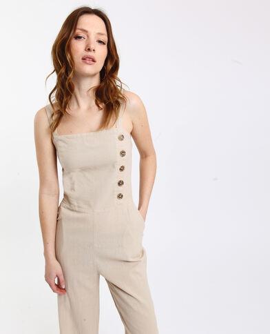 Combi-pantalon boutonnée beige