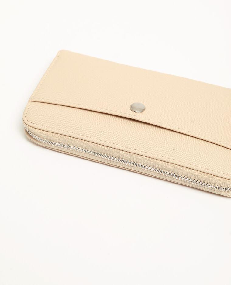 Portefeuille en similicuir beige ficelle