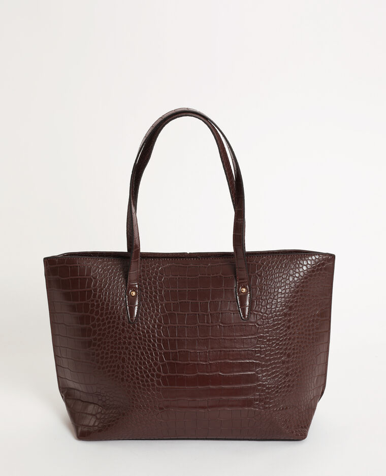 Sac cabas croco marron