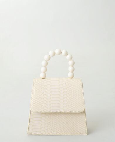 Handtas met kralen beige