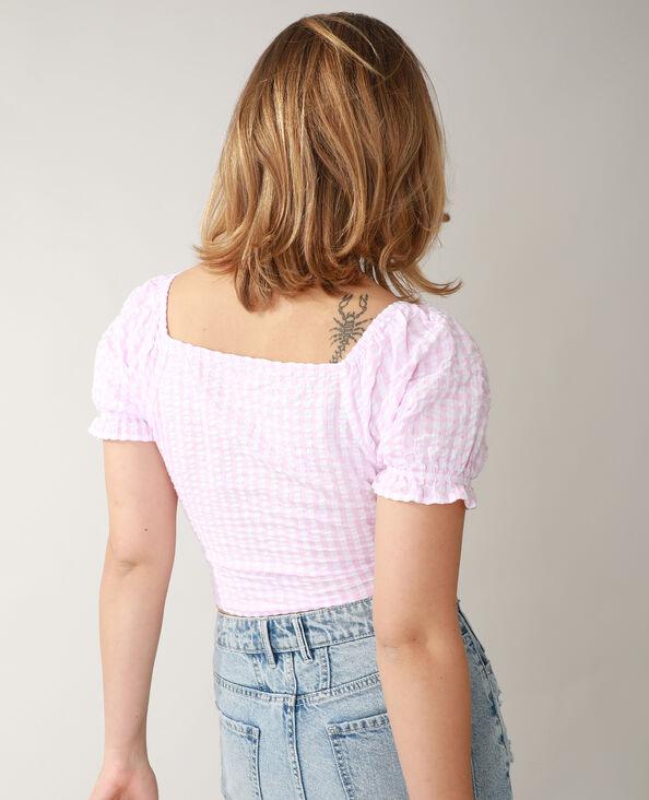 Gewafelde top met vichypatroon roze - Pimkie