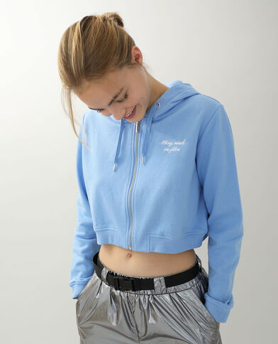 Cropped sweat zippé bleu