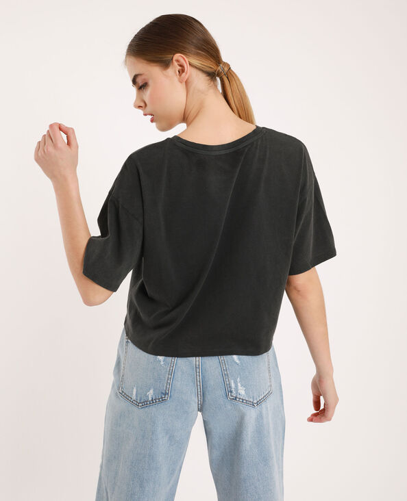 T-shirt cropped gris anthracite
