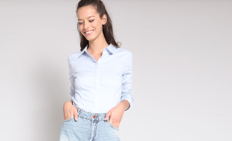 Basic hemd blauw