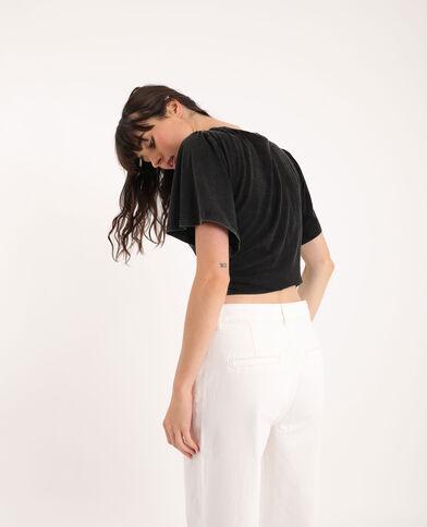 T-shirt met borduursels zwart - Pimkie