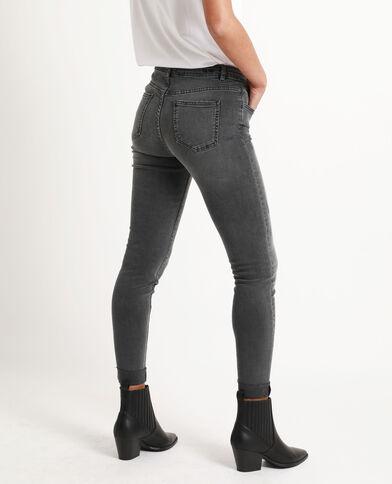 Slim fit jeans met middelhoge taille gemêleerd grijs