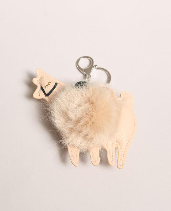 Porte clés lama beige poudré