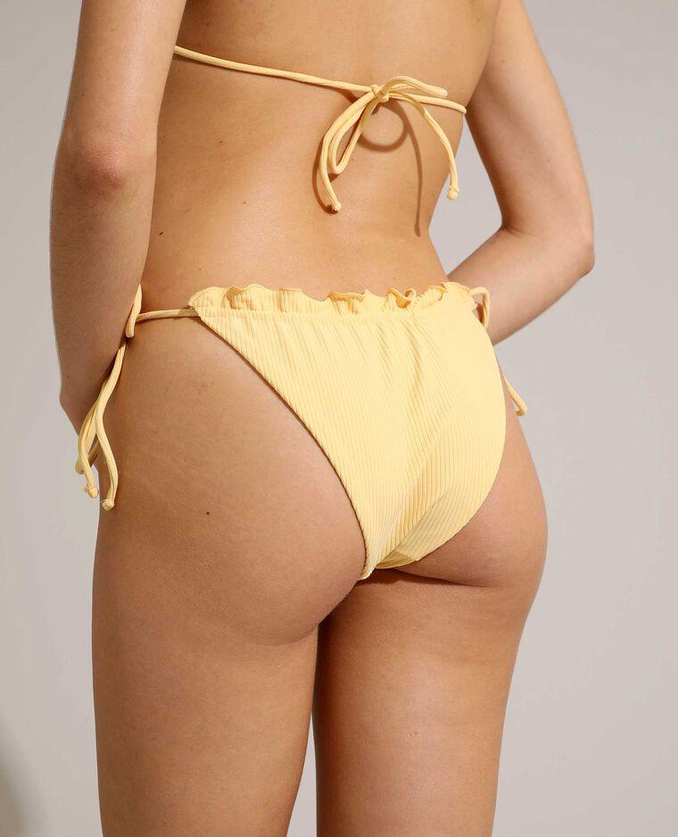Bas de maillot culotte côtelé et transformable jaune pâle - Pimkie