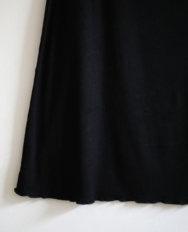 Robe côtelée à manches courtes noir
