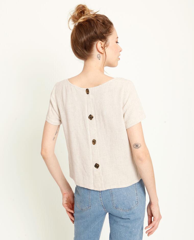 Shirt met vierkante hals gebroken wit