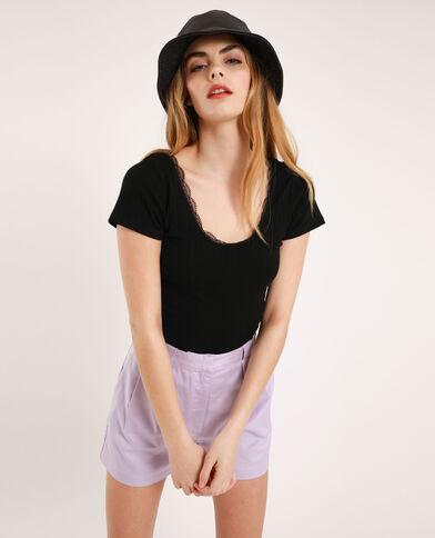 Cropped T-shirt met kant zwart
