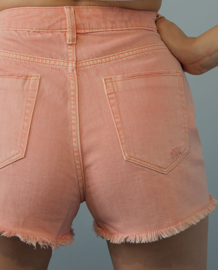 Short en jean high waist rose pâle