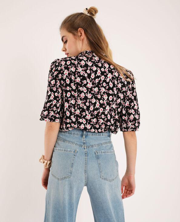 Korte blouse met bloemenprint zwart